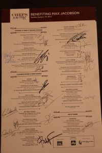 Signed menu from all of the participating Chefs.  Yes, it will be framed!