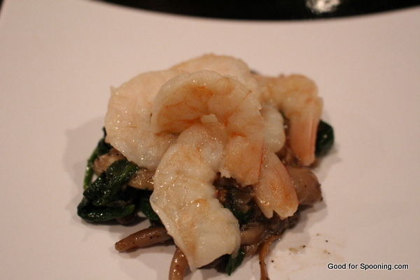 Butter Poached Shrimp with Weiss braised Mushrooms and Baby Spinach served with Ellis Island Weiss