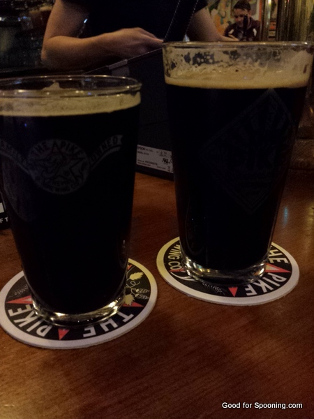 Beers at Pike Brewing - mine is the smaller one.  It was NOT lady sized, it was stronger.