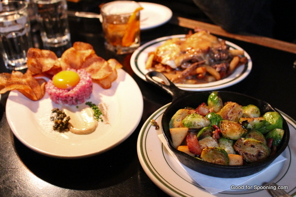 Tartare, Brussels Sprouts with bacon and the poutine with brisket.  LOVE that the tartare was served with house made potato chips so our gluten free friend had a suitable delivery device!