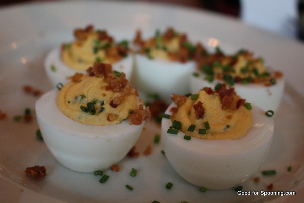 Dilled Deviled eggs with bacon at Bravehorse Tavern