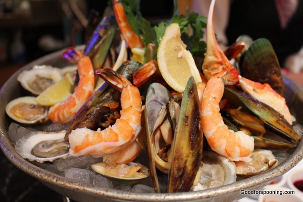 Chilled seafood tower - Shrimp, lobster, clams, oysters and New Zealand green lipped mussels.