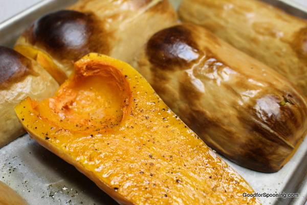 See how the skin blisters when it is roasted?  That's a good indicator that the squash is ready.