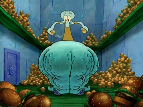 Squidward and his Krabby Patty Thighs