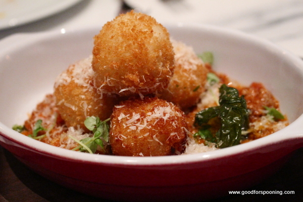 While traditional arancini has a small bit of meat in the center, these were loaded with gooey cheese!