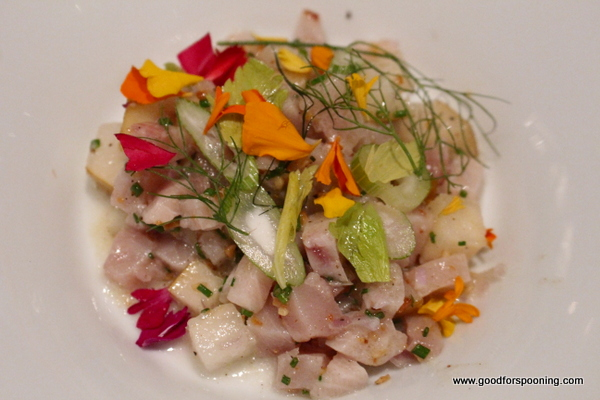 I preferred this fish dish to the crudo. Much more balanced with Asian pears and pignoli nuts for crunch