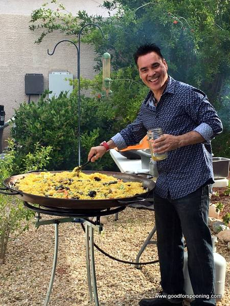 Chef Beni Velazquez at the 3 foot Paella pan in my back yard