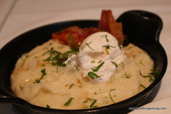 Mashed potatoes with a poached egg and guanciale? Yes Please!