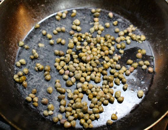 Capers get dried in a skillet for more flavor
